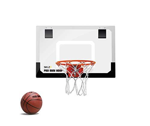 SKLZ Pro Mini Basketballkorb fürs Zimmer mit Ball, Basketball Training, Mini Basketball, Mit Schutzpolster und Türhaken, Mehrfarbig