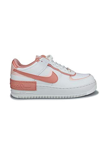 Nike Womens W AF1 Shadow Basketball Shoe, Summit White/PINK Quartz-Washed Coral