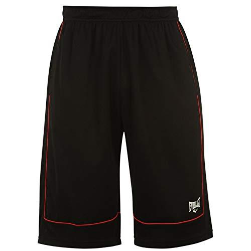 Everlast Herren Basketball Shorts Locker Kurze Hose Sporthose Sport Bekleidung Black/Red Large