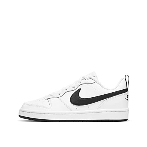 Nike Boys Court Borough Low 2 (GS) Basketball Shoe, WHITE/BLACK, WHITE/BLACK, 38
