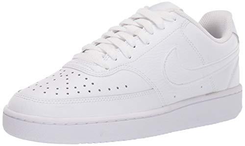 Nike Womens Court Vision Low Sneaker Basketball Shoe, White/White-White, 41 EU