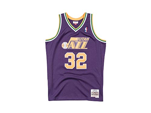"Mitchell & Ness NBA Herren Swingman Basketball Trikot von Karl ""The Mailman"" Malone, Legende der Utah Jazz #32 aus der Saison 1996-97"