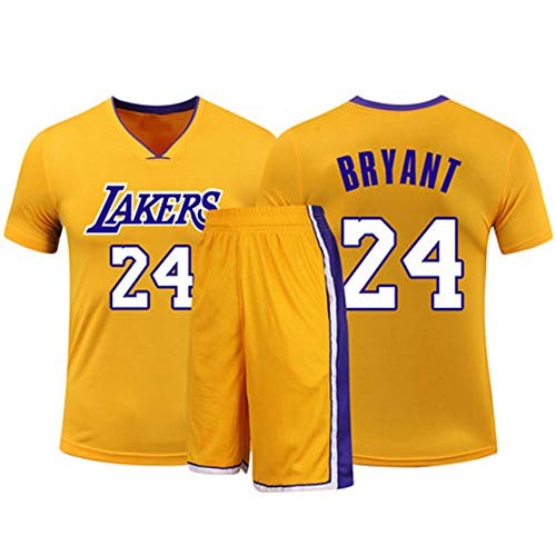 HSKS (gelb) 24# Lakers Kobe Basketball Trikot für Damen und Herren, 2-teiliges Basketball-Performance-Weste und Shorts Set, PET Fiber Atmungsaktives Sportgewebe, Real Jersey (22-5XL)-XL