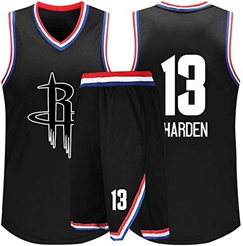 Hyzb Geschenk for 13 James Harden Houston Rockets Fans Basketball Trikots Erwachsene Kinder Jugend Sport Hemd Westen Top Sommer Shorts Männer Frauen T-Shirts (Color : Black, Size : 3XL)