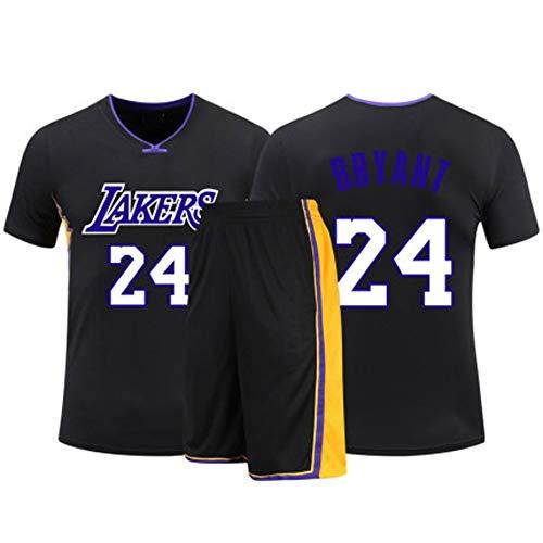 HSKS (Black) 24# Lakers Kobe Basketball Trikot für Damen und Herren, 2-teiliges Basketball Performance Weste und Shorts Set, PET Fiber Atmungsaktives Sportgewebe, Real Jersey (22-5XL)-XL