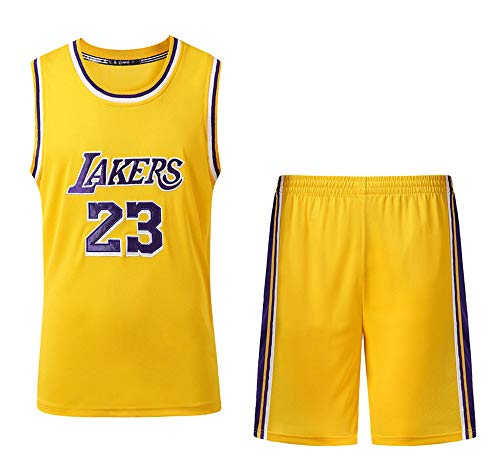 Verwendet für Nr. 23 Lebron James Fans Los Angeles Lakers Jungen Mädchen Basketball Jersey Sets Basketball Uniformen Kinder Sommer Weste Shirts Shorts Set-Yellow-S
