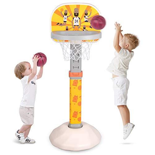 Birtech Basketballständer Kinder Basketballkorb mit Ständer, Basketballanlage Korbanlage Höhenverstellbar von 75cm bis 115cm für Jungen & Mädchen,Gelb