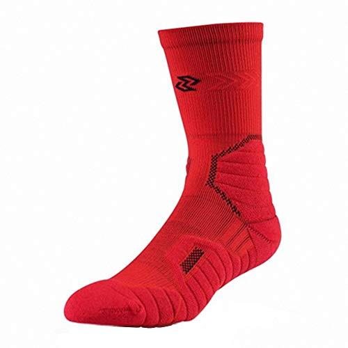 C&YL Cushion Athletic Crew Basketball-Socken, Sport-Elite-Socken für Damen und Herren Gr. M, rot