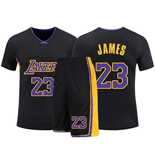 HSKS (schwarz) 23# Lakers James Basketball Trikot für Damen und Herren, 2-teiliges Basketball-Performance-Weste und Shorts, PET Faser, atmungsaktives Sportgewebe, Real Jersey (22-5XL)-XXL