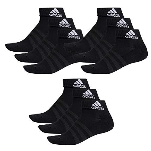 adidas 9 Paar Performance Sneaker/Quarter Socken Unisex Kurzsocke, Farbe:Black, Socken & Strümpfe:46-48