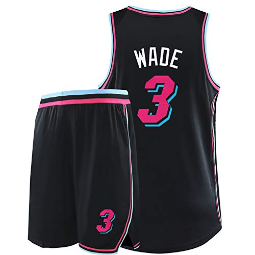 Wade 3. Jersey Flash, geeignet für Miami Heat Retro-Basketball-Trainingsanzüge, Basketball-Kampfuniformen, Basketball-Shirts für Herren und Damen, Beste Spieler-cityblack-L