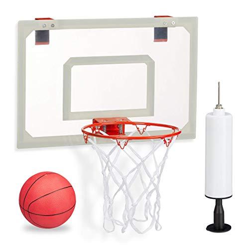 Basketballkorb fürs Zimmer, im Set mit Ball und Luftpumpe, Backboard zum an die Tür hängen, ohne Bohren, mehrfarbig
