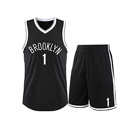 GBY Netze Nr. 1 Basketball Uniform Anzug, Herren Basketball Trikot kann mehrmals gewaschen Werden, schwarz, 4XS-5XL-black-L