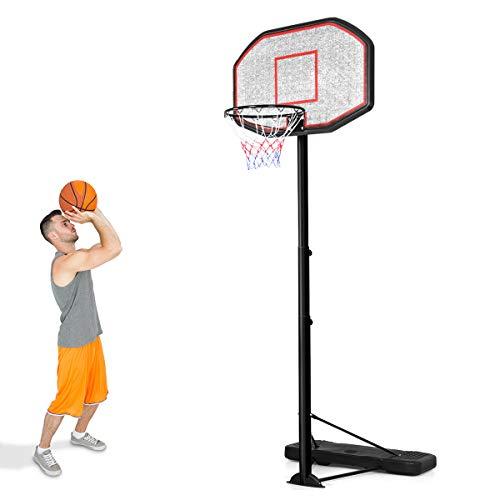 COSTWAY Basketballständer von 200 bis 305cm höhenverstellbar, Basketballkorb mit Ständer, Basketballanlage rollbar, Korbanlage geeignet für Innen- und Außenbereich
