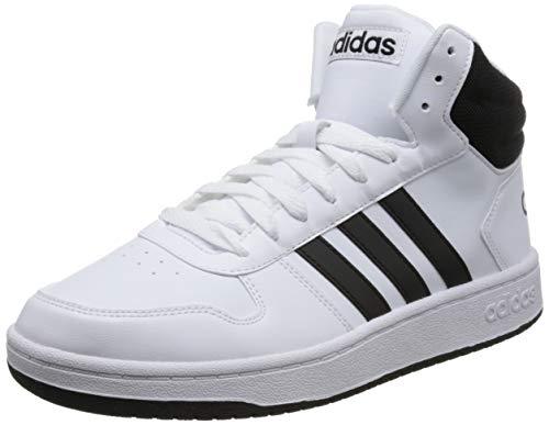 adidas Herren Hoops 2.0 Mid Fitnessschuhe, Weiß (Ftwbla/Negbás/Negbás 000), 44 EU