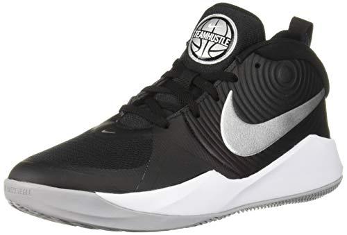 Nike Unisex-Kinder Team Hustle D 9 (GS) Basketballschuhe, Mehrfarbig (Black/Metallic Silver/Wolf Grey/White 000), 37.5 EU