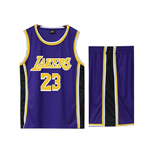 Basketball Trikot für Lebron Raymone James No.23 Lakers Fans Basketball ärmellose Anzug Kinder Erwachsene schwarz lila Sportswear T-Shirt Weste + Shorts jugendlich weiß gelb Sweatshirt-Blue-S