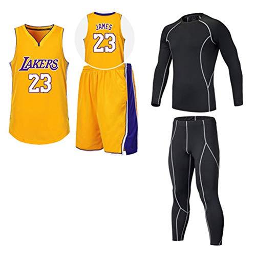WWWJ #23 James Basketball-Trikot Set, Retro Westen T-Shirt und Shorts Kit Basketball Training Sweatshirt für Herren und Damen S gelb