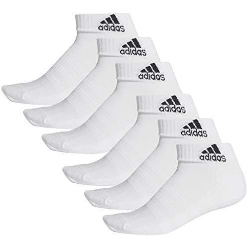 adidas 6 Paar Performance Sneaker/Quarter Socken Unisex Kurzsocke, Farbe:White, Socken & Strümpfe:43-45
