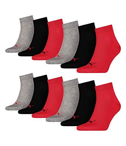 Puma unisex Quarter Sportsocken Kurzsocken Socken 271080001 12 Paar, Farbe:Mehrfarbig, Menge:12 Paar (4x 3er Pack), Größe:39-42, Artikel:271080001-232 black/red