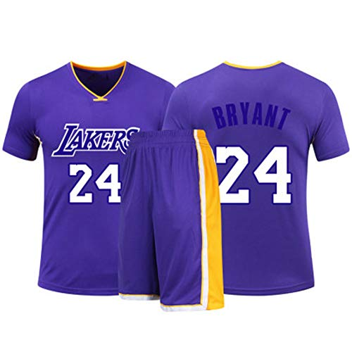 HSKS (lila) 24# Lakers Kobe Basketball Trikot für Damen und Herren, 2-teiliges Basketball-Performance-Weste und Shorts Set, PET Faser atmungsaktives Sportgewebe, Real Jersey (22-5XL)-XXXXL