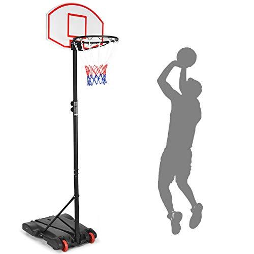COSTWAY Basketballkorb mit Ständer, Basketballständer von 180 bis 210cm höhenverstellbar, Basketballanlage transportabel, Korbanlage mit Rädern für Kinder und Erwachsene