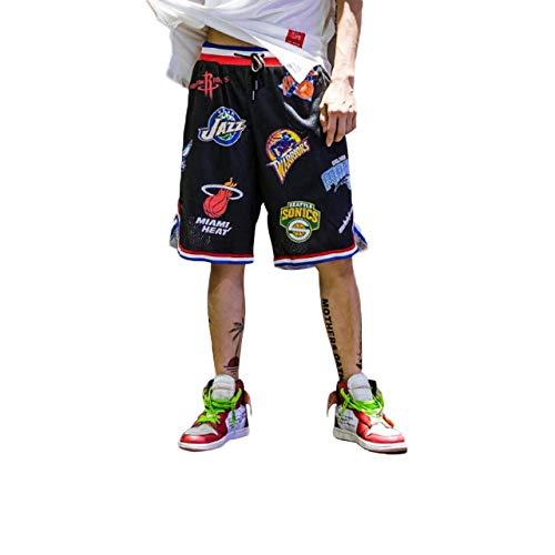 Irypulse Herren Basketballshorts aus Atmungsaktives Mesh Stoff, Sommer Straßenmode Shorts für Jugendliche und Jungen, Lose Sport Joggen Shorts Drucken Kurze Hose - Original Design,M,Schwarz