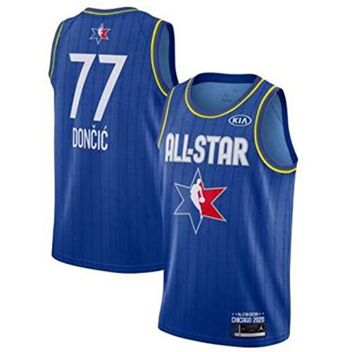 77# Luka Doncic All-Star Herren Damen Basketball Trikot Herren T-Shirt-Unisex Trainingsuniform Athlete's Jersey Mesh Schnelltrocknendes ärmelloses Fans Sweatshirt-Blue-XL