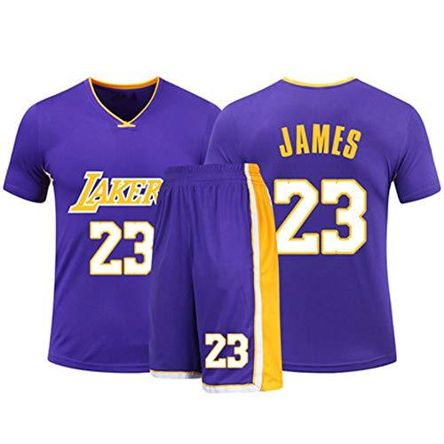 HSKS (Lila) 23# Lakers James Basketball Trikot für Herren und Damen, 2-teiliges Basketball-Performance-Set aus Weste und Shorts, PET-Faser, atmungsaktiver Sportstoff, echtes Jersey (22-5XL)-XXXL