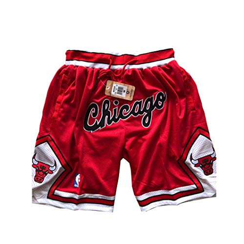 ULIIM Herren Bulls Shorts Mesh Basketball Retro Chicago Bulls Swingman Sports Shorts M-XXL