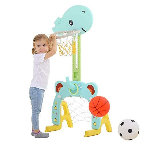 Basketballkorb Set, Basketballspielzeug 3 in 1 Sport Aktivität Schießspiel Einstellbares, Ringwurf Nettes Giraffen Babys Junge und Mädchen