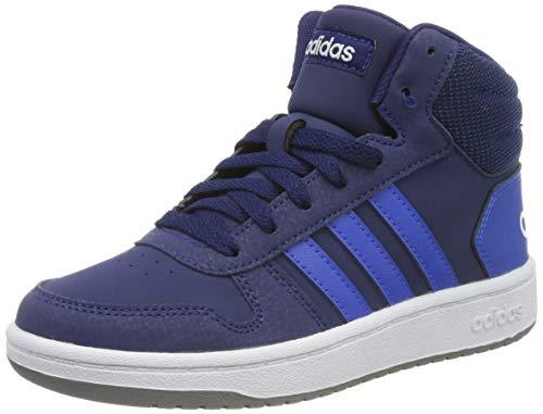 adidas Unisex-Kinder Hoops 2.0 Mid Hohe Sneaker, Blau (Dark Blue/Blue/Footwear White 0), 34 EU