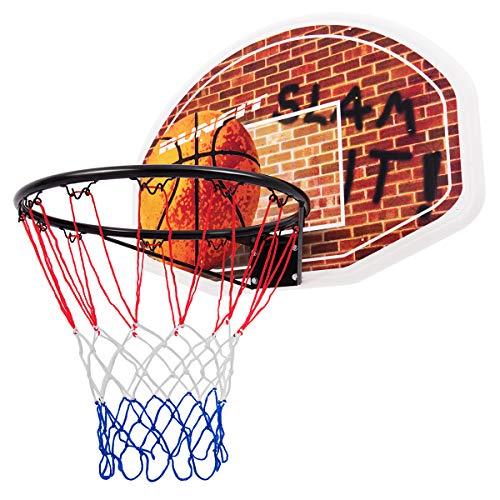 DREAMADE Basketballkorb für Outdoor & Indoor, Hängendes Basketballboard Basketballbrett mit Netz aus Wetterfestem Nylon, Wand- und Türmontage, aus PP, mit Muster vom Basketball