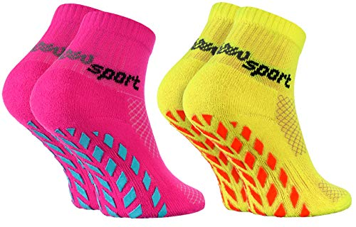 Rainbow Socks - Jungen Mädchen Neon Sneaker Sport Stoppersocken - 2 Paar - Rosa Gelb - Größen 30-35