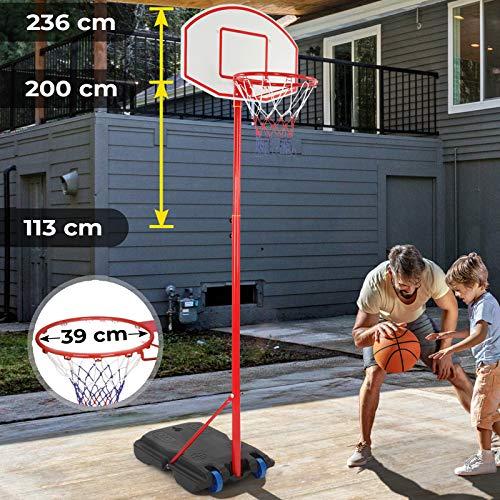 Infantastic Basketballständer mit Rollen - höhenverstellbar 113 bis 236 cm, für drinnen und draußen - Basketballkorb mit Ständer, Basketballanlage, Hoop Stand für Kinder