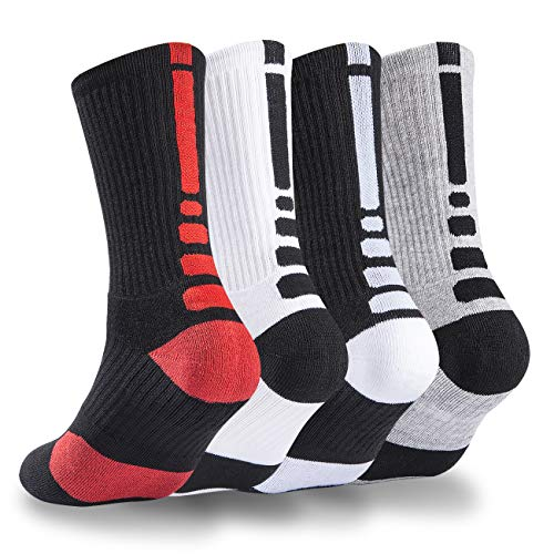 Nanooer 4er-Pack Herren Basketball-Socken gepolstert athletisch lang Sport Outdoor Socken Kompressionssocken 39,5-29,5 - - Einheitsgröße