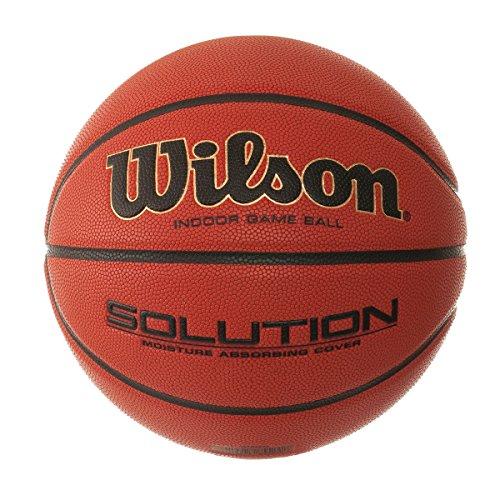 Wilson Indoor-Basketball, Wettkampf, FIBA zugelassen, Sportparkett, Granulat, Linolium- oder PVC-Boden, Größe 7, ab 12 Jahre, Solution Game Ball, Orange