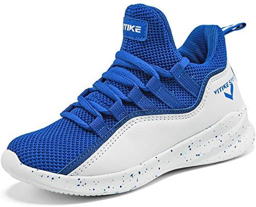 Elaphurus Kinder Hallenschuhe Basketballschuhe Sportschuhe Mädchen Turnschuhe Tennischuhe Kinder Sneaker Laufschuhe,6 Blau,37 EU