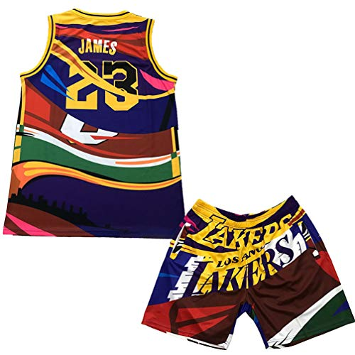 Los Angeles Lakers # 23 James Basketball Trikots, SetsMultiple Color Retro Style Herren und Damen Jersey Shorts, Stickerei Sommer Short Quick Dry Sportswear-White-M